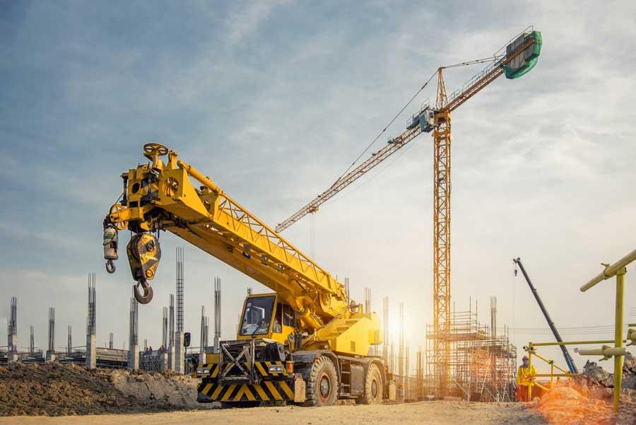construction crane sunburst