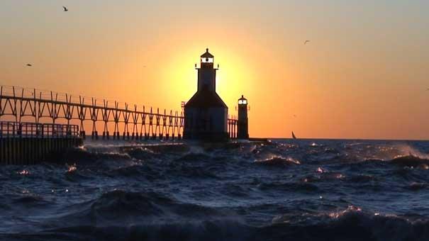 michigan lighthouse sunset